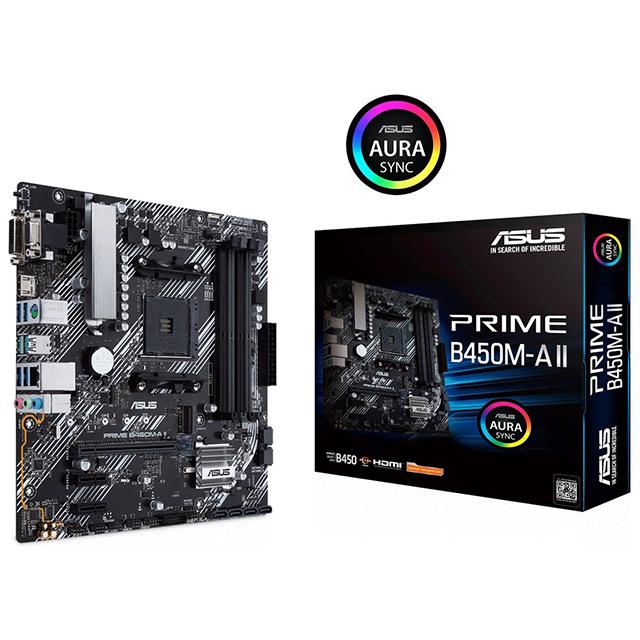 Tarjeta Madre Asus Prime B450M-A II, Micro ATX, AM4, DDR4 4400Mhz OC, M.2, Aura Sync
