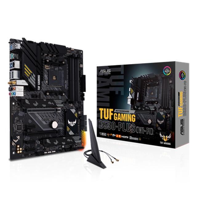 Tarjeta Madre Asus TUF B550-Plus (Wi-Fi), ATX, AM4, DDR4 4400Mhz OC, M.2, Crossfire, Bluetooth 5.1, Aura Sync