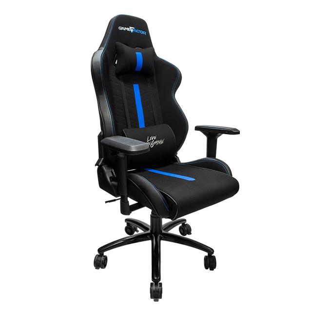Silla Gamer GameFactor CGC601 XL, Tela, Reclinable, Negro/Azul