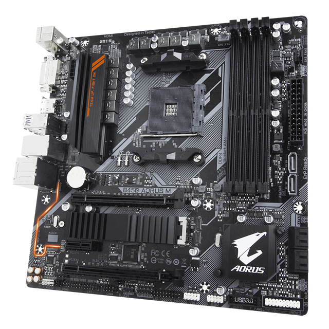Tarjeta Madre Gigabyte B450 Aorus M, Micro ATX, AM4, DDR4 3600Mhz OC, M.2, Crossfire, RGB Fusion 2.0