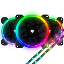 Ventiladores GameFactor FKG400 V2, 3x120mm, incluye 2 Tiras LED ARGB