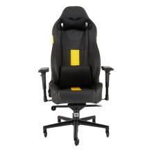 Silla Gamer Corsair T2 ROAD WARRIOR Gaming Chair — Black/Yellow, Reclinable, 4D — CF-9010010-WW