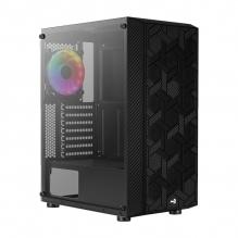 Gabinete Aerocool Hive Black v3, Cristal Templado, 1 Ventilador 120mm FRGB, ATX - 4710562755923