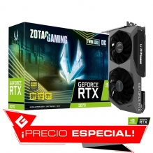 Tarjeta de video Nvidia Zotac Gaming Geforce RTX 3070 Twin Edge OC LHR, 8GB GDDR6, - ZT-A30700H-10PLHR - (Venta exclusiva por transferencia electrónica o depósito bancario)