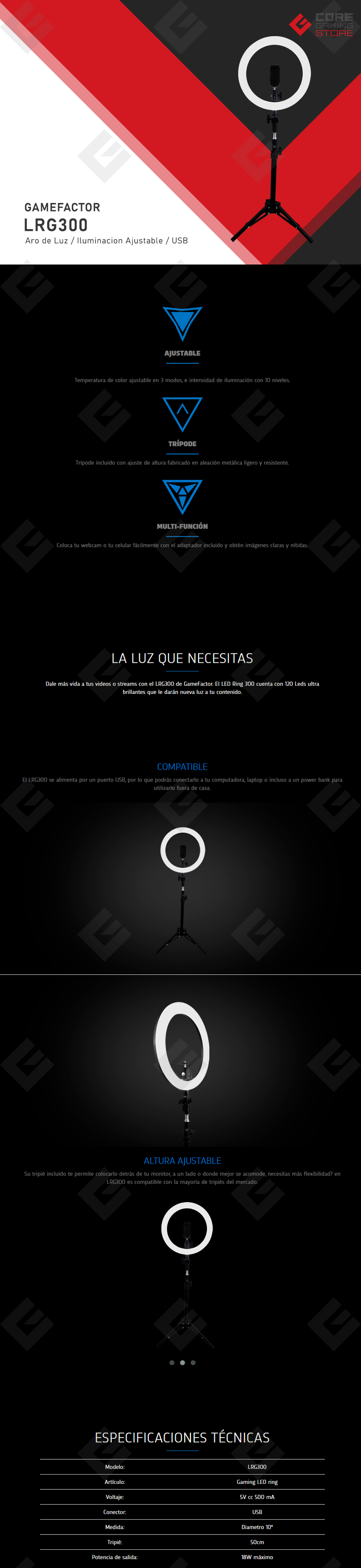 Aro De Luz GameFactor LRG300, 30cm, Streaming, Calido y frio, Ajustable, USB
