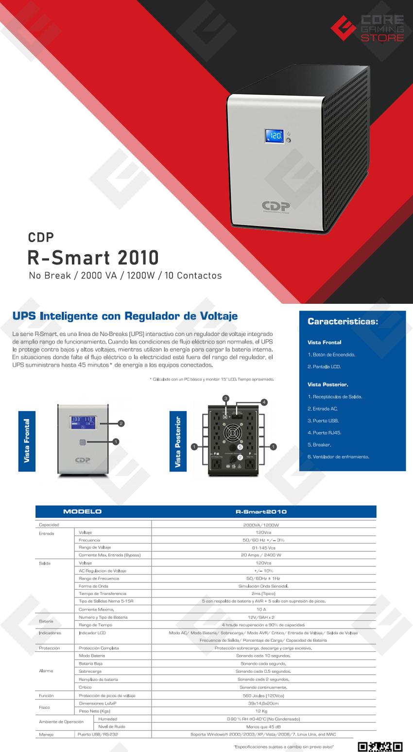 No-Break CDP, R-Smart 2010, 2000VA, 1200W, 10 Contactos, UPS