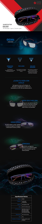 Lentes para PC GameFactor GG301, Anti Blue Light, Cuadrados, Estuche, Azul/Rojo