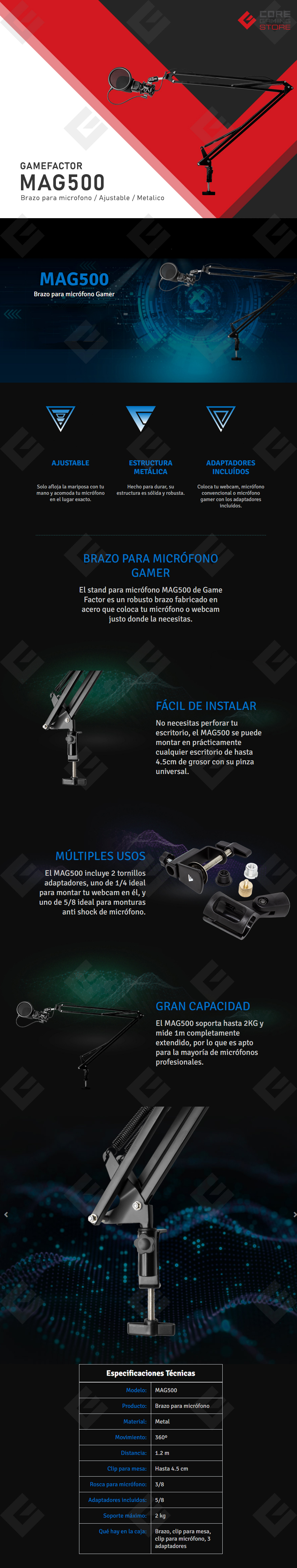 Brazo para Microfono/Camara GameFactor MAG500, Ajustable, Estructura Metalica