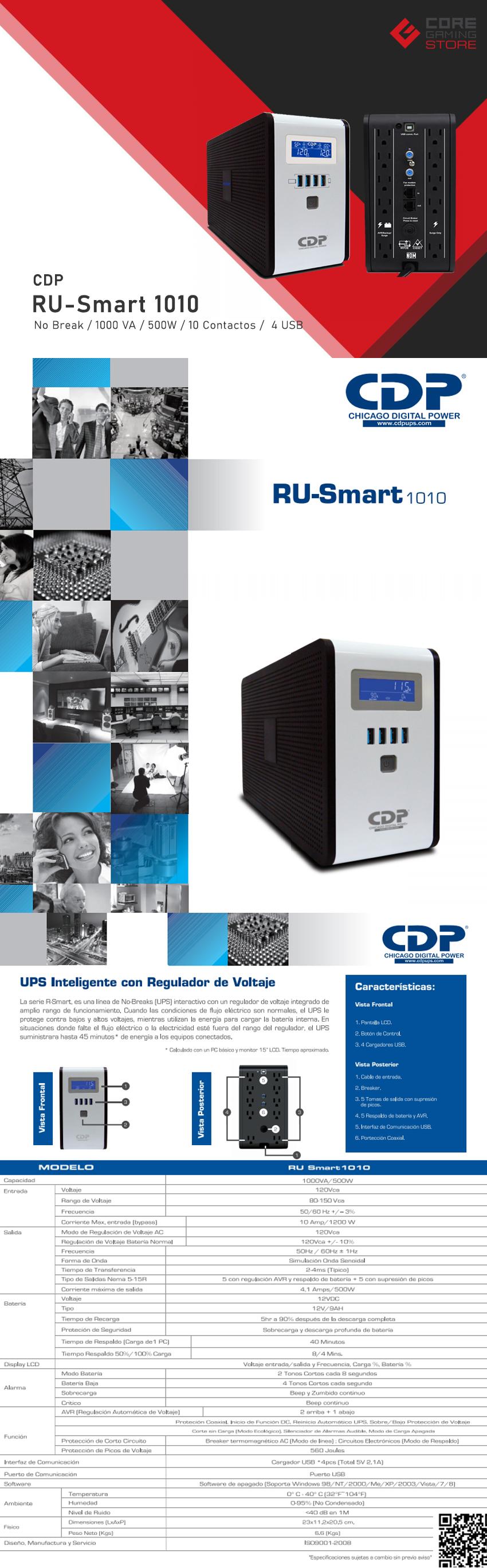 No-Break CDP, RU-Smart 1010, 1000VA, 500W, 10 Contactos, 4 USB, UPS