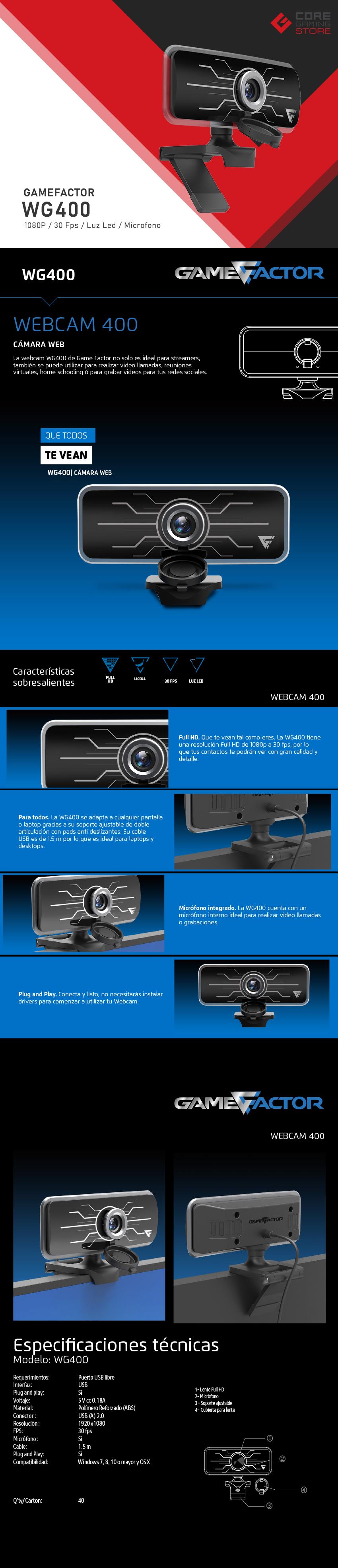 Camara Web GameFactor WG400, Full HD, Luz Led, Microfono - WG400