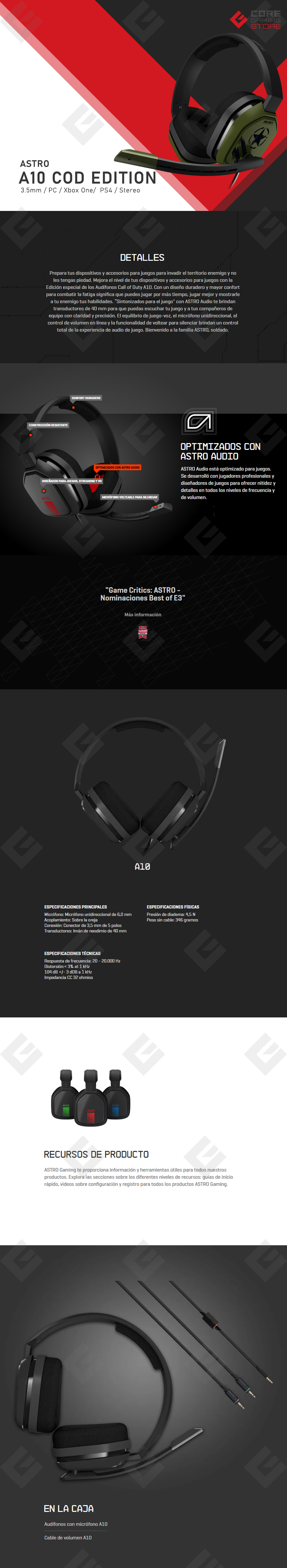 Diadema Astro A10 Edicion Call Of Duty, Alambrico, 3.5mm, Xbox One, PS4, Mobile Devices (Logitech)