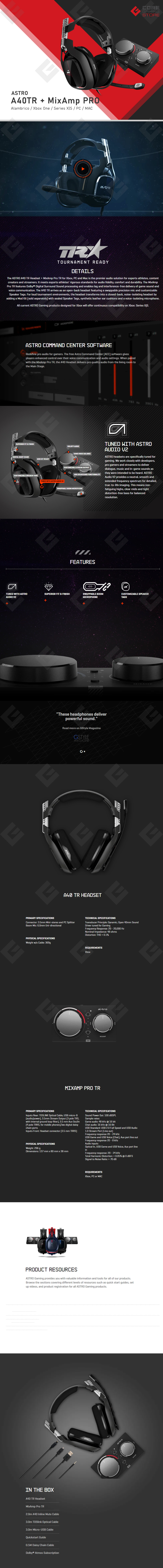 Diadema Astro A40 TR Headset + MixAmp Pro TR / Xbox One / Series X S  / PC / MAC - (Logitech)