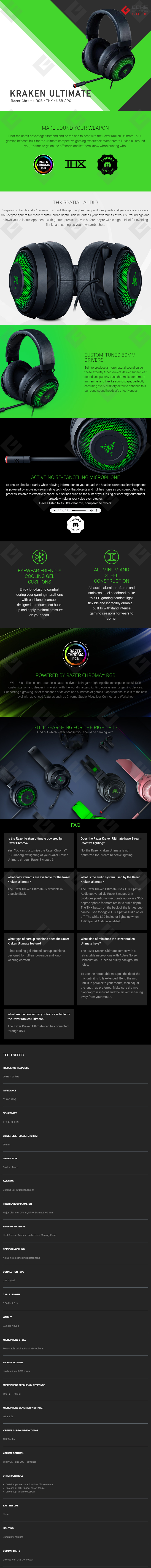Diadema Gamer Razer Kraken Ultimate, Alambrico, Active Noise-Canceling, THX Supported, Razer Chroma RGB, USB, PC - RZ04-03180100-R3U1