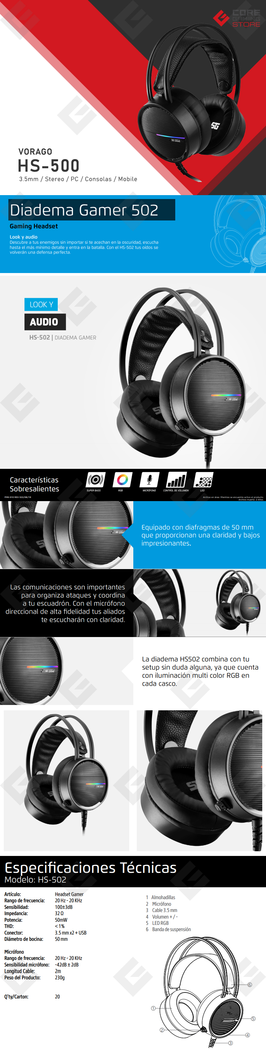 Diadema Vorago HS-502 Gaming headset, Alámbrico, 3.5mm, PC, PS4, Xbox One, Switch, Mobile Devices