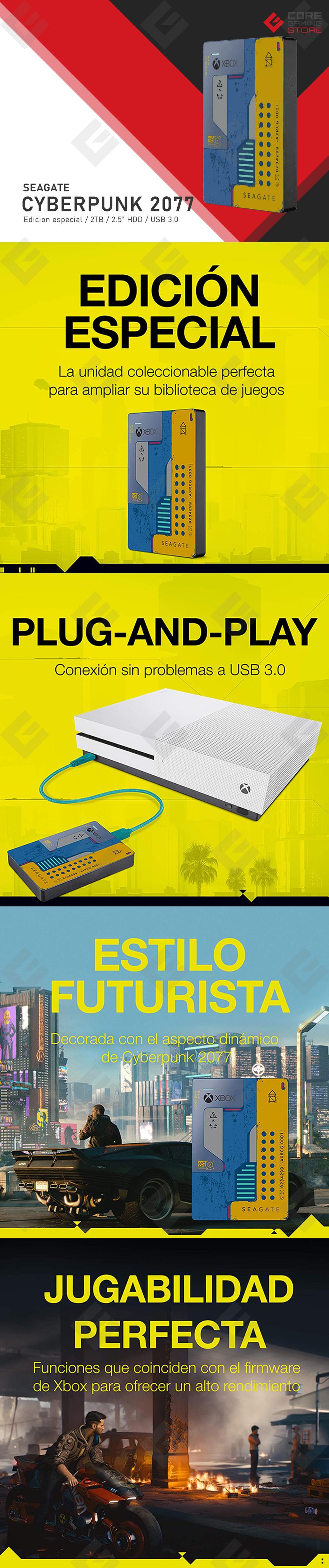 Disco Duro Externo Seagate Cyberpunk 2077 Edicion Especial, 2TB, Diseñado para Xbox One, USB 3.0