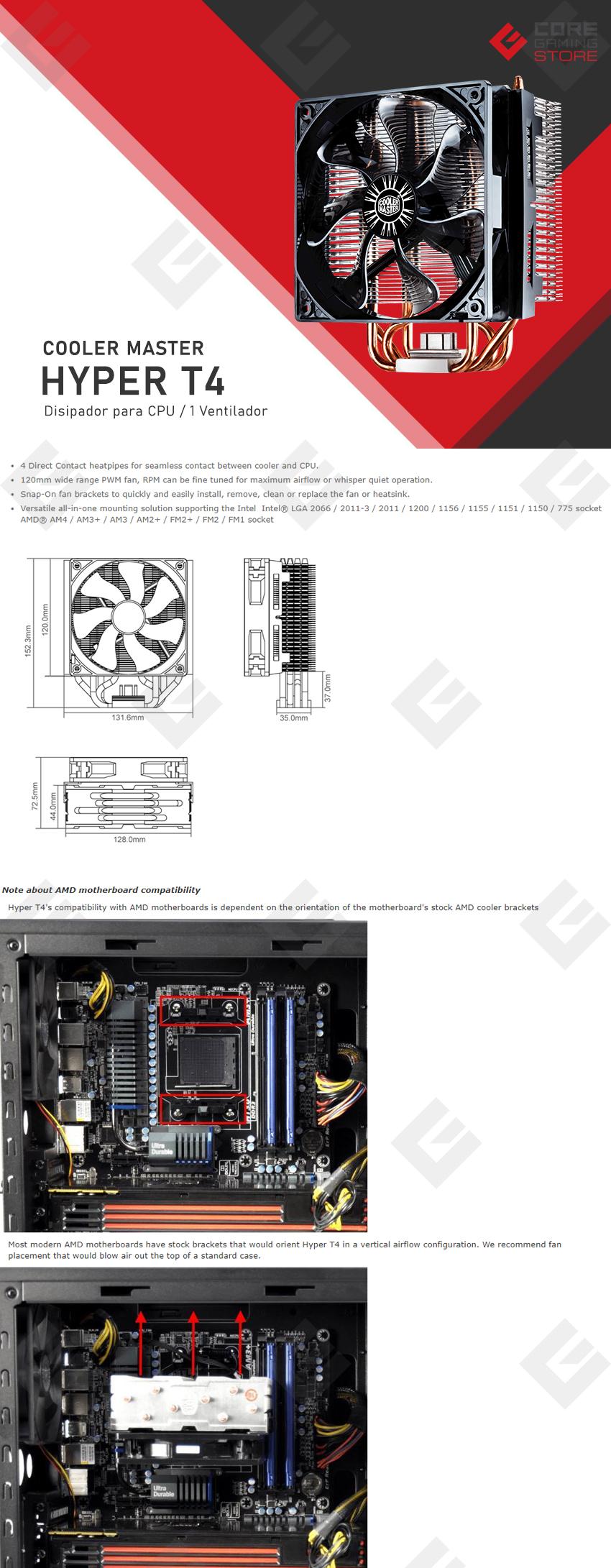 Disipador para CPU Cooler Master Hyper T4