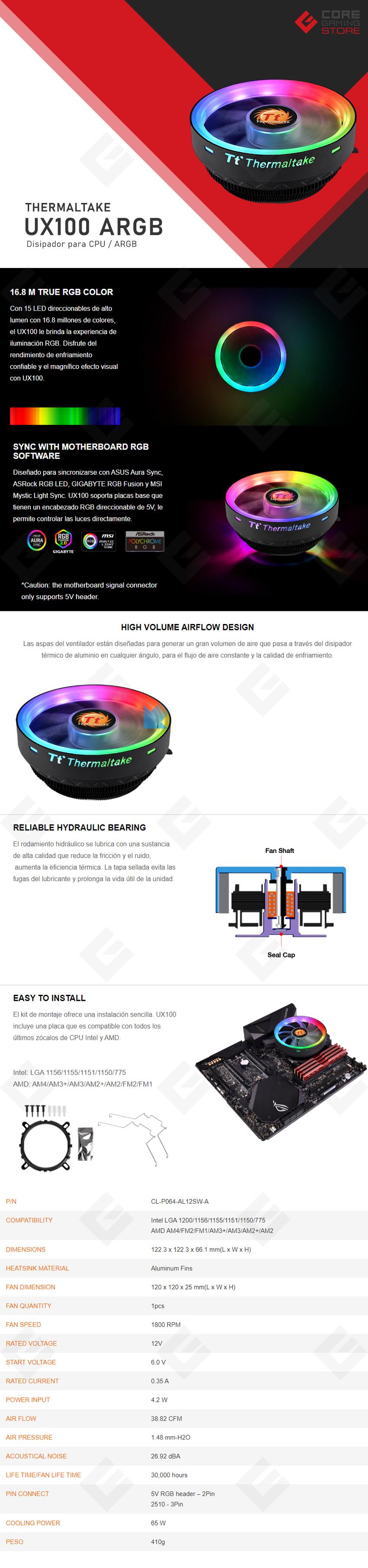 Disipador para CPU Thermaltake UX100 ARGB Lighting CPU Cooler - CL-P064-AL12SW-A