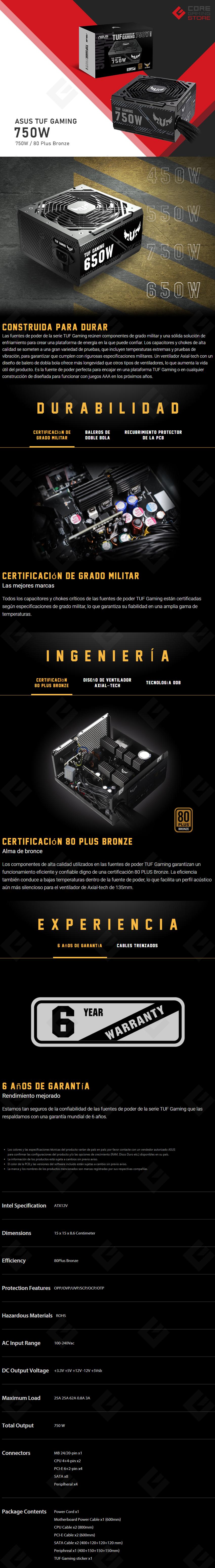 Fuente de Poder Asus TUF Gaming 750B, 750W 80 Plus Bronze - TUF-GAMING-750B