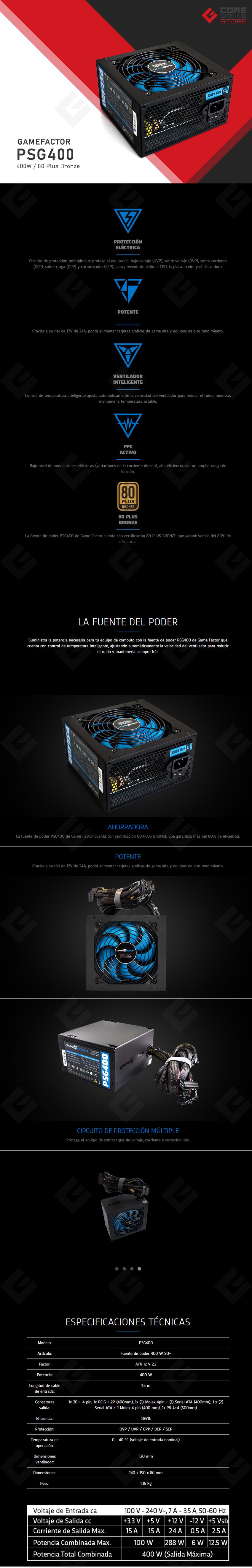 Fuente de Poder GameFactor PSG400 400Watts 80 Plus Bronze