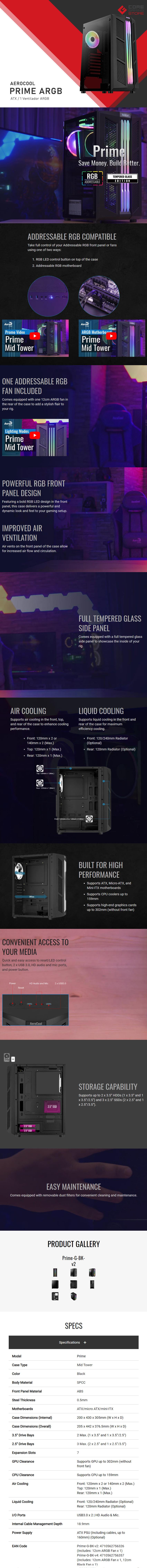 Gabinete Aerocool Prime ARGB, Cristal Templado, 1 Ventilador ARGB, ATX - 4710562756326
