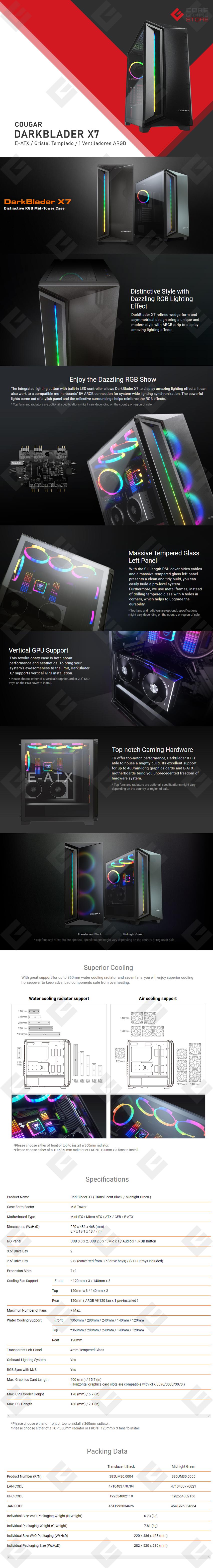 Gabinete Cougar Darkblader X7, E-ATX, Cristal Templado, Negro Translucido, 1 Ventilador ARGB VK120