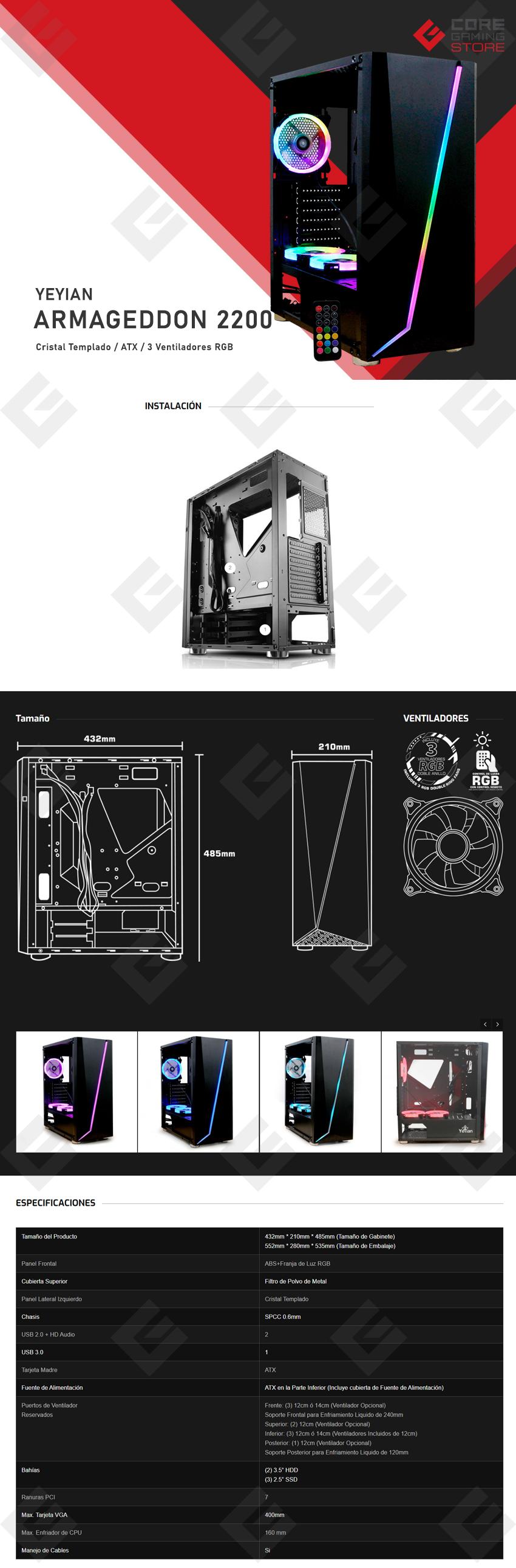 Gabinete Yeyian Armageddon 2200, Cristal Templado, 3 ventiladores RGB, YGA-68809