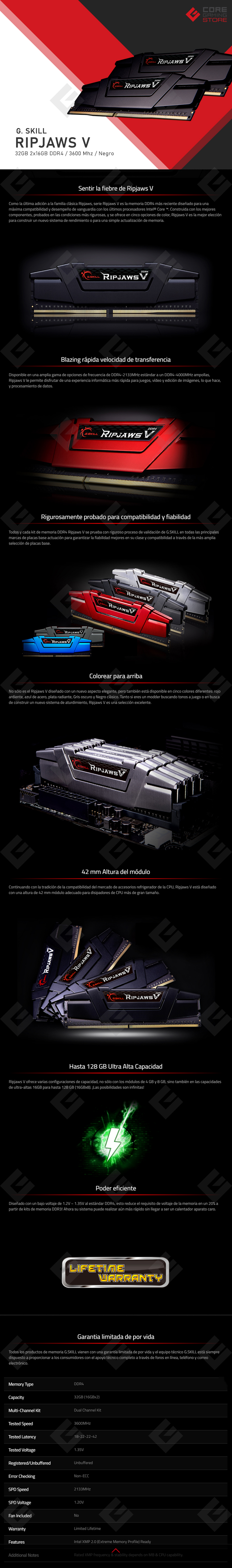 Memoria RAM G.Skill Ripjaws V 32GB 2X16GB DDR4 3600MHZ  - Negro