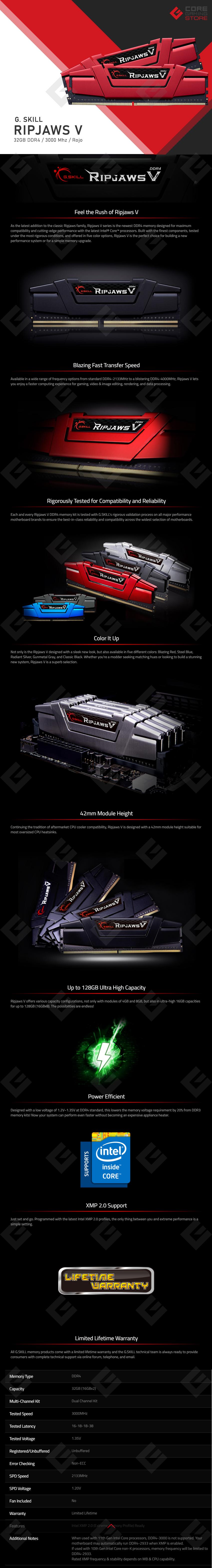Memoria RAM G.Skill Ripjaws V 32GB 2X16GB 3000MHZ