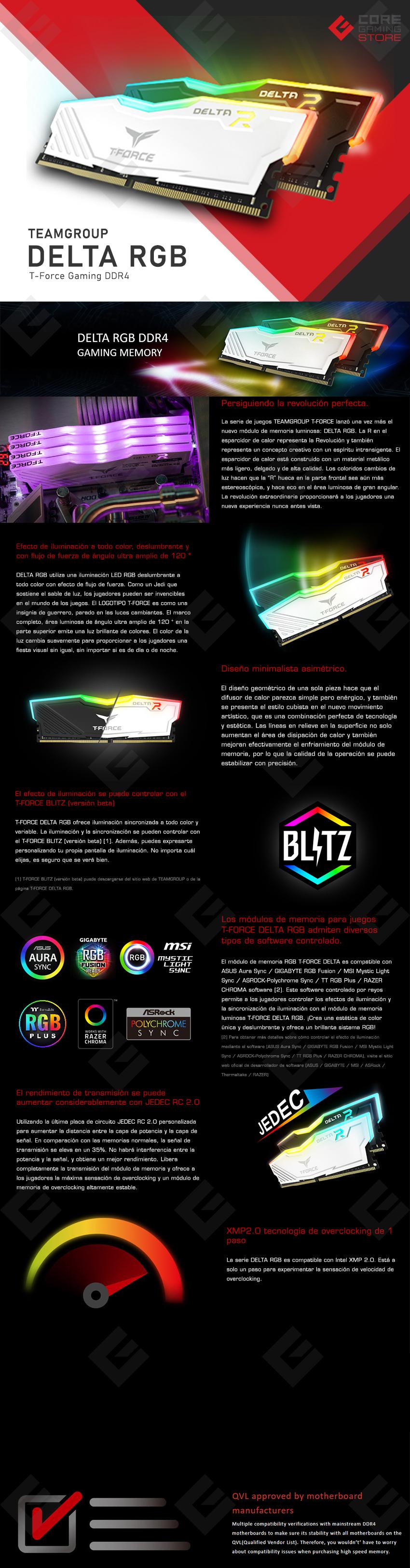 Memoria RAM Teamgroup T-Force Delta RGB 32GB 1X32GB 3200MHZ Negra - TF3D432G3200HC16F01