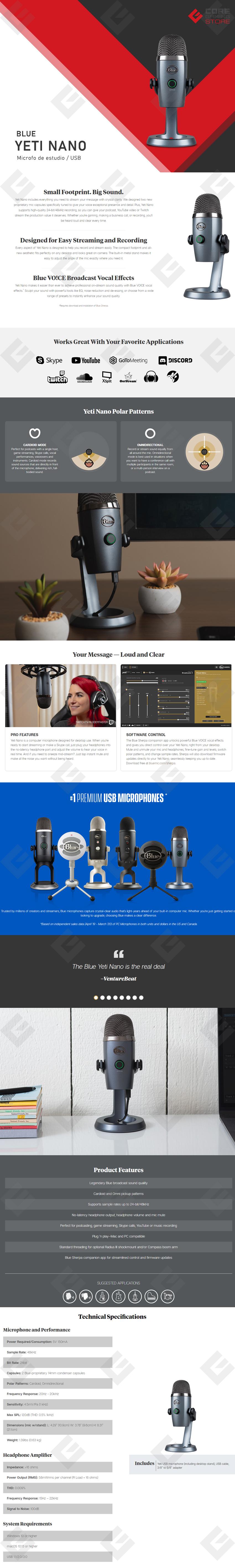 Microfono Blue Yeti Nano, Plug-And-Play USB (Logitech)