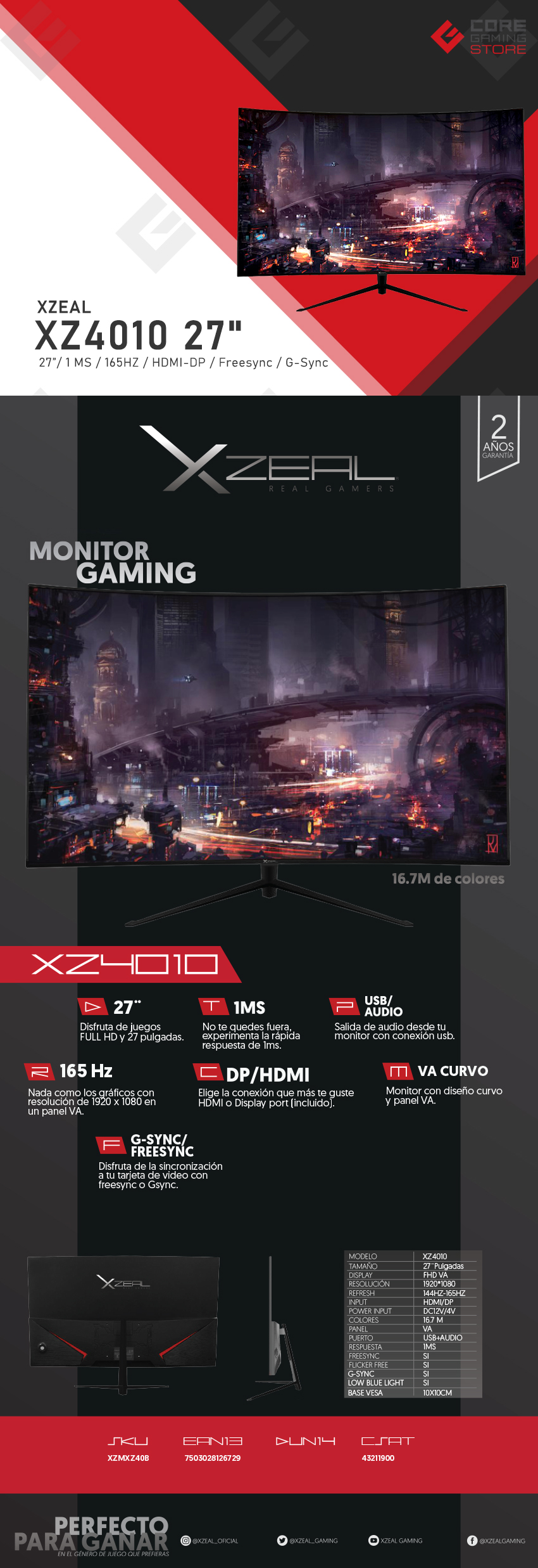 "Monitor Xzeal XZ4010, 27"", 1920 x 1080, HDMI, Displayport, 1MS, 165Hz, Freesync, G-Sync"