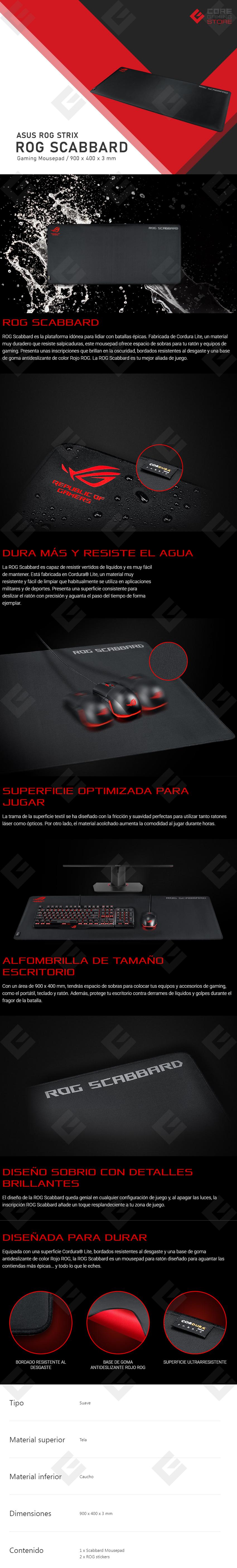 Mousepad Gamer Asus ROG Scabbard - 900 x 400 x 3 mm