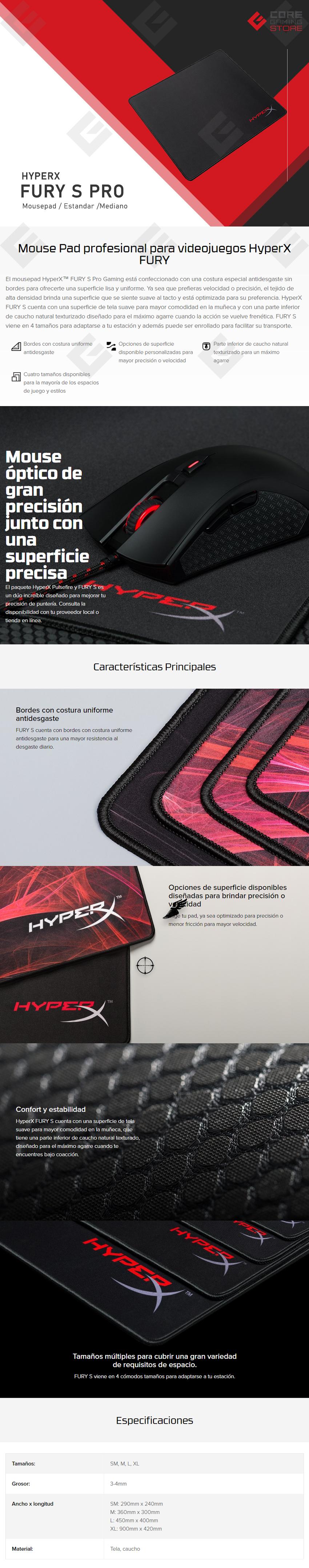 Mousepad HyperX Fury S Pro, Standar Edition, Mediano, 360x300x4mm, HX-MPFS-M