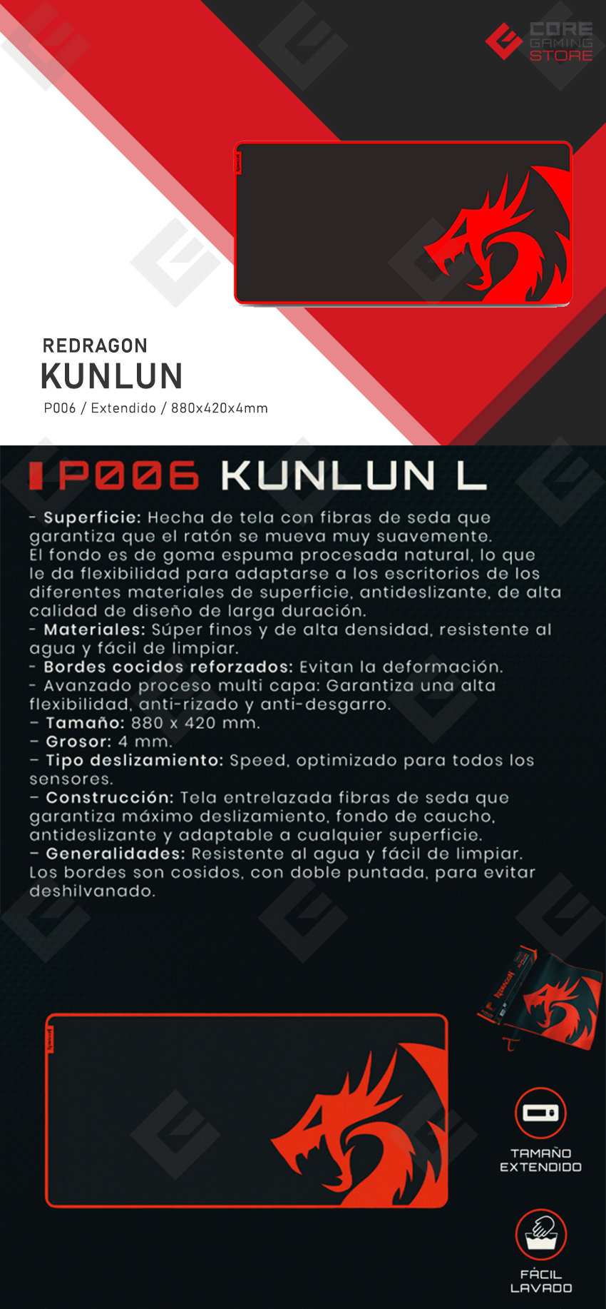 Mousepad Gamer Redragon Kunlun P006 - 880 x 420 x 4mm