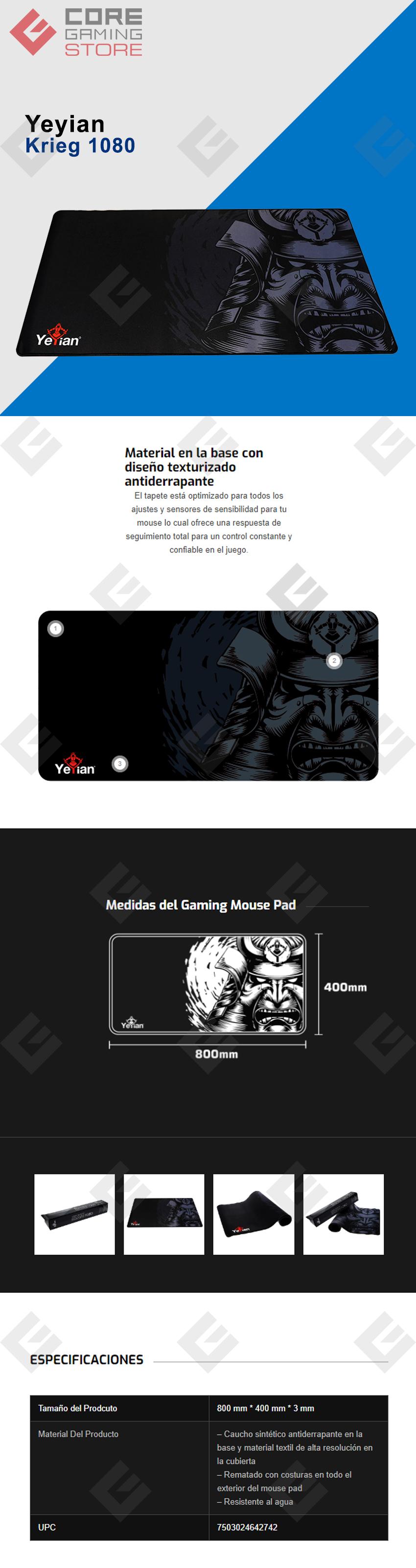 Mousepad Yeyian Krieg 1080, 800x400x3mm