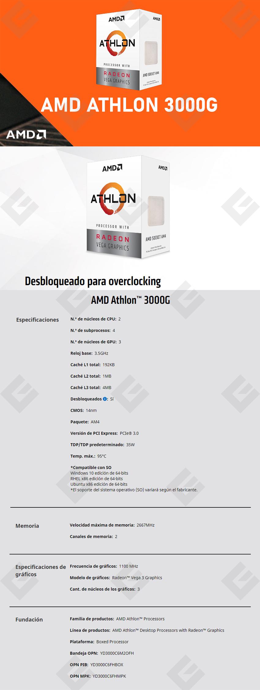 Procesador AMD Athlon 3000G, 2 Cores, 4 Threads, Radeon Vega 3 Graphics, 3.5Ghz Base, Socket AM4