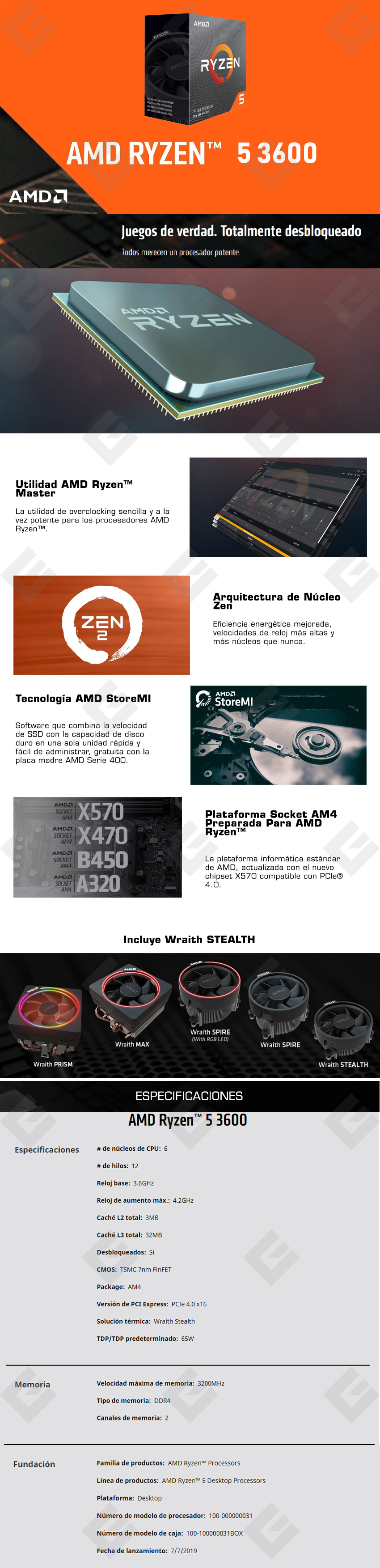 Procesador AMD Ryzen 5 3600, 6 Cores, 12 Threads, 3.6Ghz Base, 4.2Ghz Max, Socket AM4, Wraith Stealth