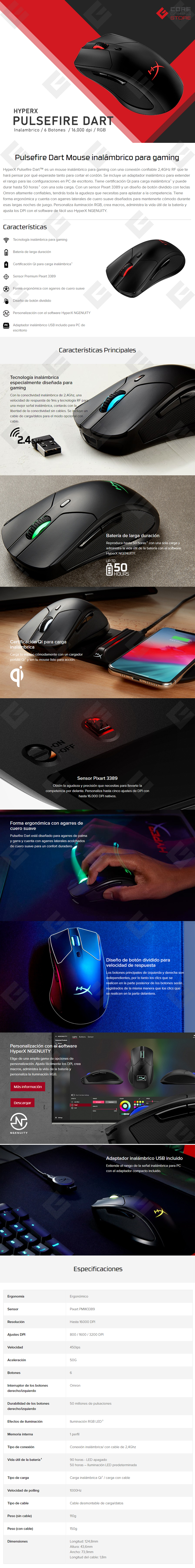 Mouse HyperX Pulsefire Dart RGB, Inalámbrico, 6 Botones, 16,000 Dpi, HX-MC006B