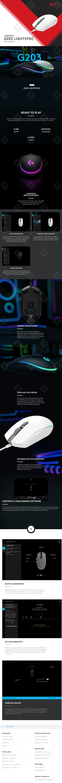 Mouse Logitech G203 Lightsync Blanco, Alámbrico, 8,000 DPI - 910-005794