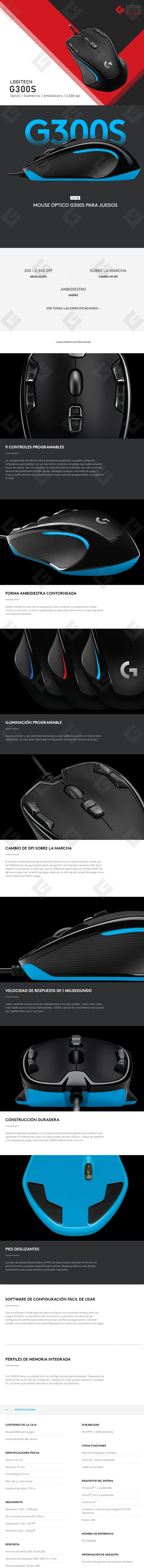 Mouse Logitech G300S Optical Gaming , Alámbrico, 9 Botones programable, Ambidiestro  2,500 DPI - 910-004344