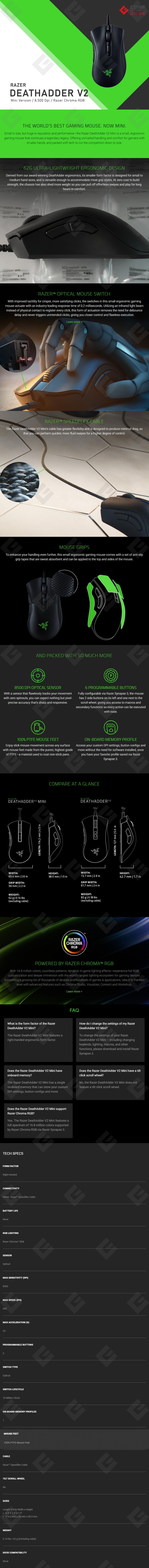Mouse Gamer Razer DeathAdder V2 Mini, Alambrico, 8,500 DPI, 6 Botones, Sensor Optico - RZ01-03340100-R3U1