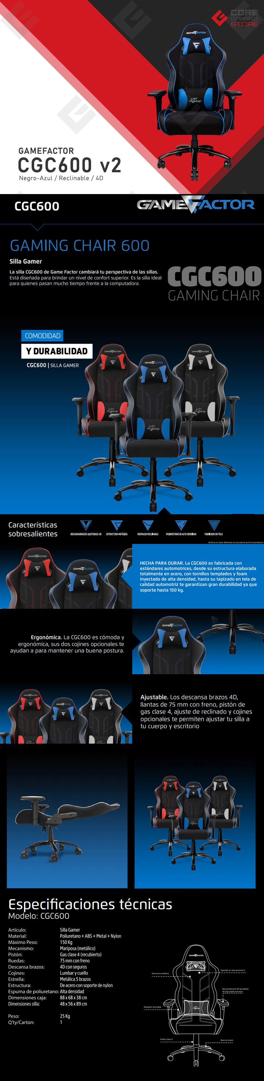 Silla Gamer GameFactor CGC600 v2, Negro/Azul, Reclinable, 4D, 150Kg, CGC600-BL