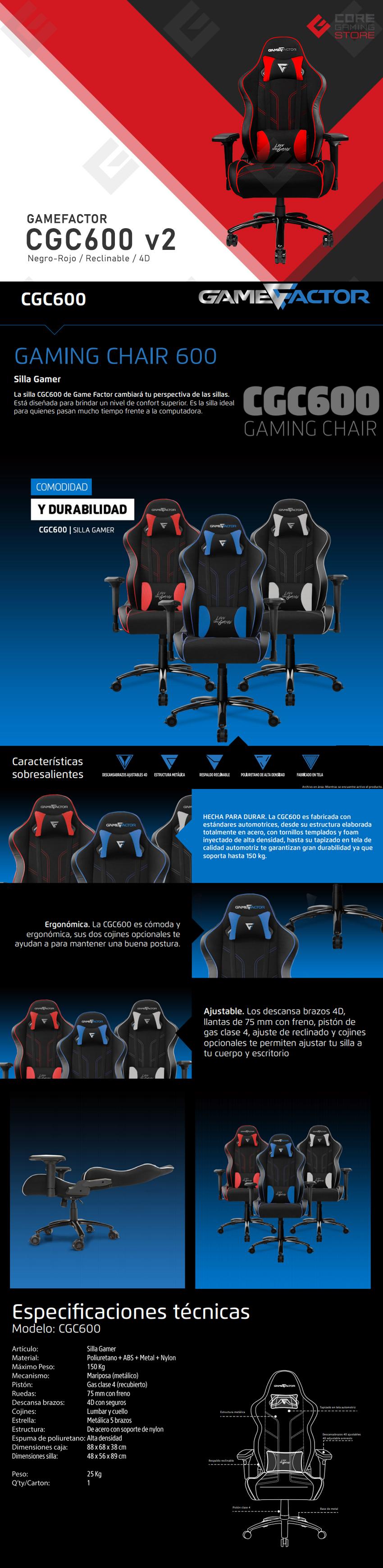 Silla Gamer GameFactor CGC600 v2, Negro/Rojo, Reclinable, 4D, 150Kg, CGC600-RD