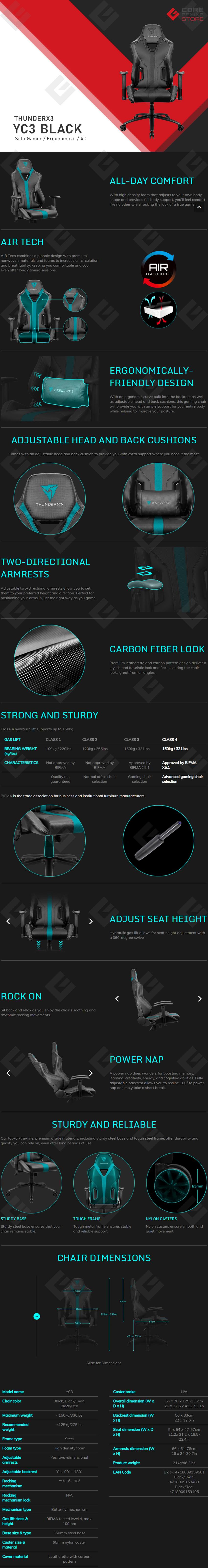 Silla Gamer Thunderx3 YC3 Black, Reclinable, 4D