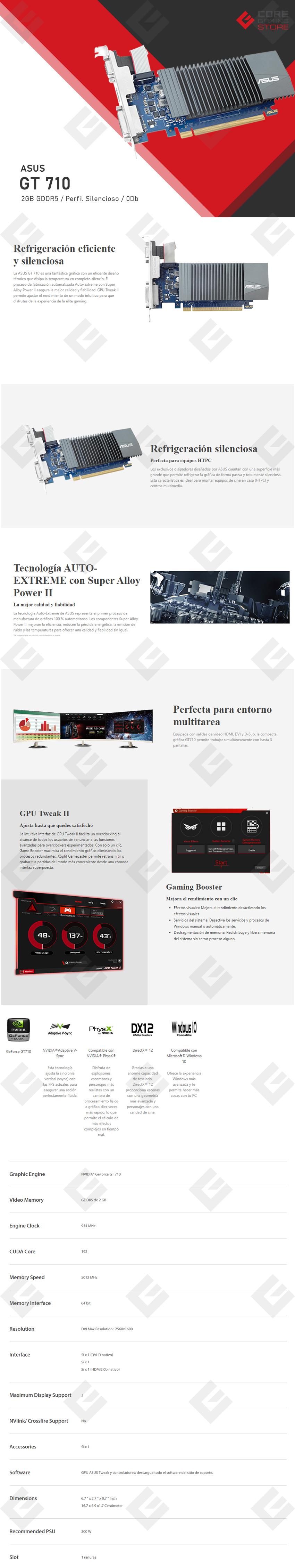 Tarjeta de Video Nvidia Asus GT 710, 2GB GDDR5 - GT710-SL-2GD5-CSM