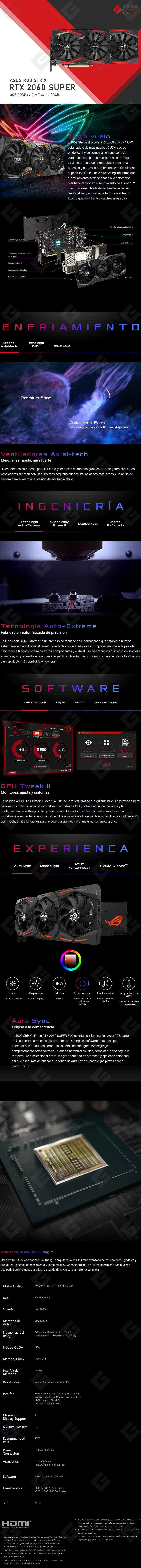 Tarjeta de Video Nvidia Asus ROG Strix RTX 2060 Super EVO 8GB GDDR6