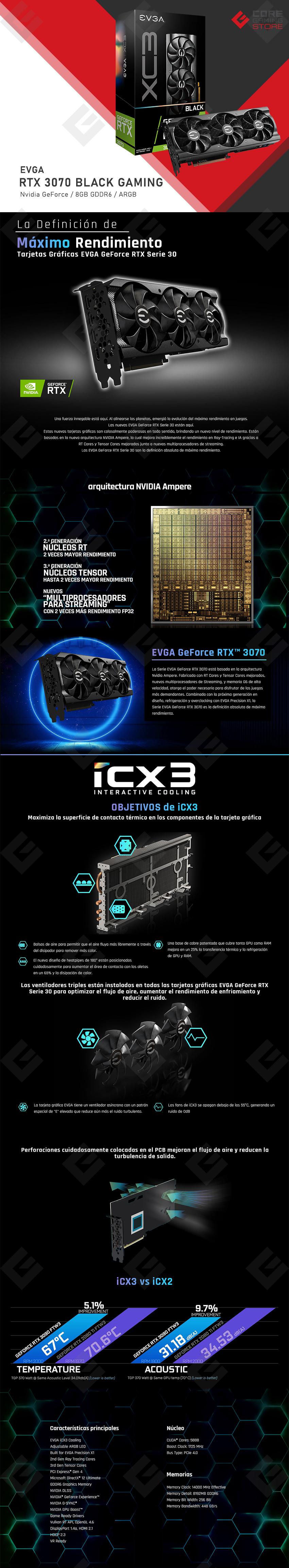Tarjeta de Video Nvidia EVGA GeForce RTX 3070 XC3 Ultra Gaming, 8GB GDDR6, ARGB - 08G-P5-3755-KR  - (Venta exclusiva por transferencia electrónica o depósito bancario)