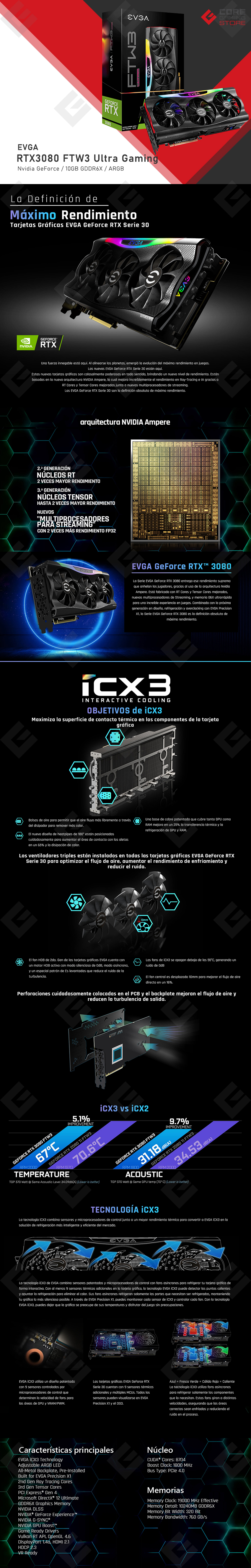 Tarjeta de Video Nvidia EVGA GeForce RTX 3080 FTW3 Ultra Gaming, 10GB GDDR6X, ARGB, Metal Blackplate - 10G-P5-3897-KR, (Para venta exclusiva en ensamble)