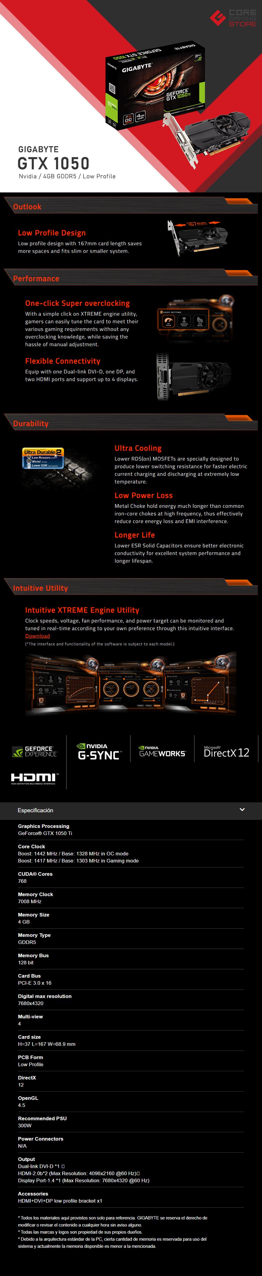 Tarjeta de Video Nvidia Gigabyte GTX 1050 Ti OC Low Profile, 4GB GDDR5, GV-N105TOK-4GL