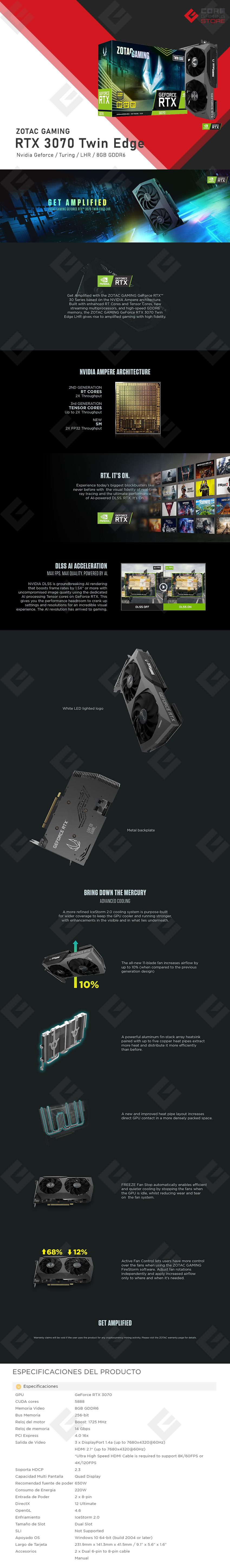 Tarjeta de Video Nvidia Zotac Gaming Geforce RTX 3070 Twin Edge LHR, 8GB GDDR6, - ZT-A30700E-10PLHR - (Venta exclusiva por transferencia electrónica o depósito bancario)